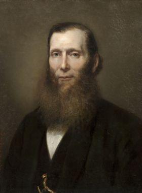 Johannes Hinderikus Egenberger (1822 Arnhem – 1897 Utrecht) Portret van Urie Samuel Oppenheim , 1863 Olie op doek Legaat Mr. N.J. Polak, Den Haag